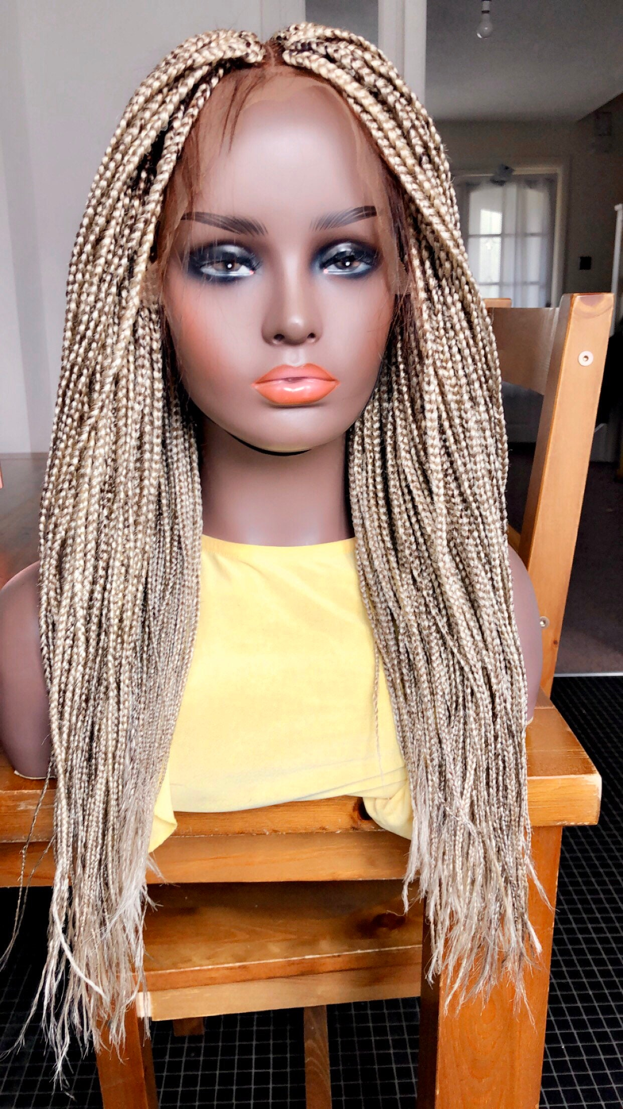 Braided Wig Medium Box Braids Wig Human Hair Frontal