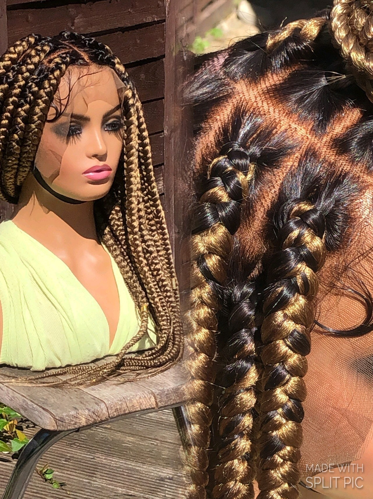 Ready To Ship Knotless Braided Wig Jumbo Braids Blonde Wig Full Lace Wig 26 Shade knotless box braid full lace ( medium brown lace). ready to ship knotless braided wig