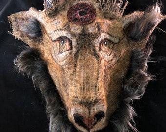 Hand Painted Movie and Photo Shoot Props Custom Baphomet Demon Mask Handmade Burlap Devil Mask