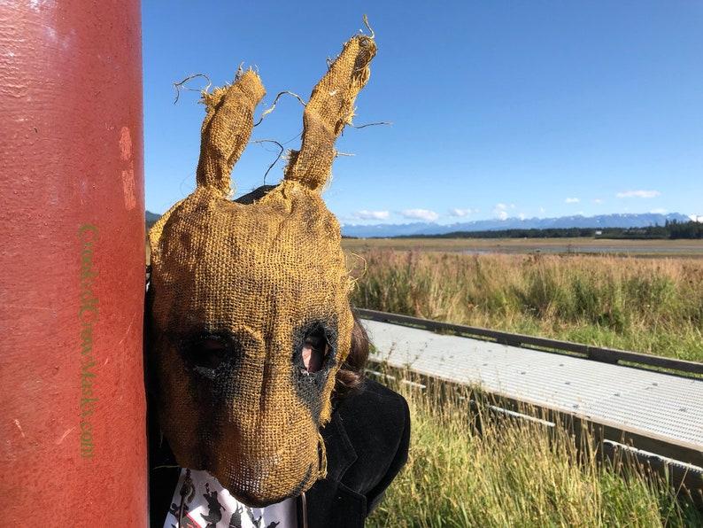 Scary burlap rabbit mask