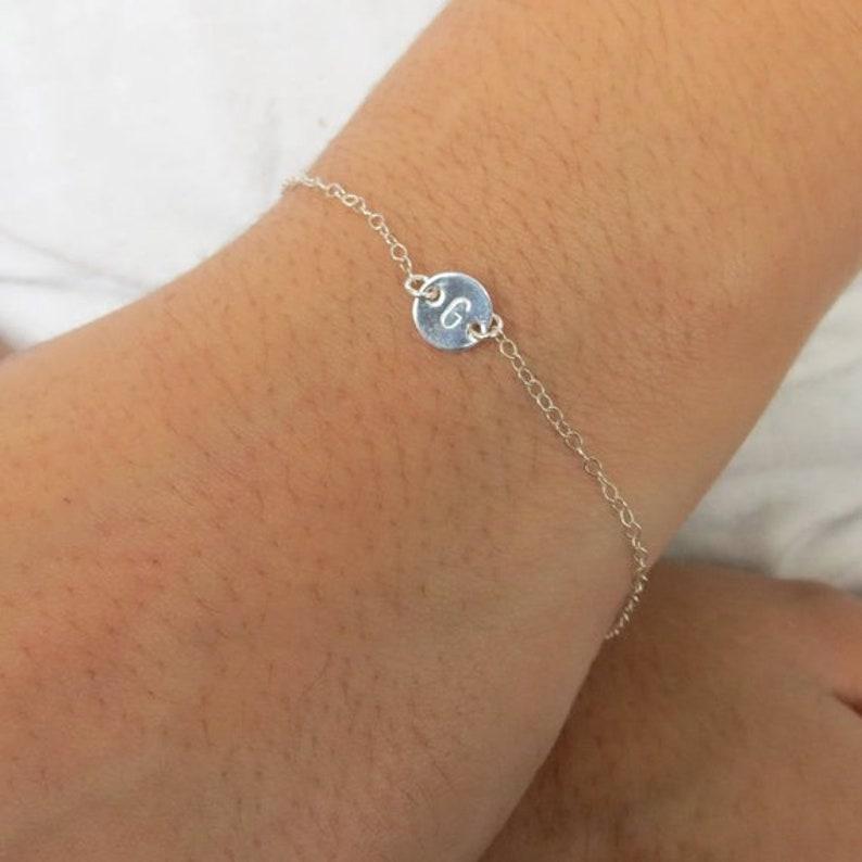 Tiny Sterling Silver Bracelet Personalized Dainty Bracelet Gift Tiny Disc Friendship Bracelet Gift for Mom Initial Silver Bracelet