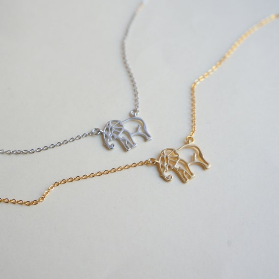 Tiny Silver Good Luck Elephant Necklace Good Luck Elephant Necklace Gold Elephant Necklace Good Luck Necklace