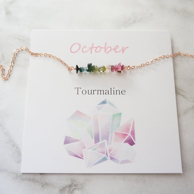October Birthstone Necklace Tourmaline Necklace Multi Color Tourmaline Delicate Necklace Natural Raw Gemstone Gift for Women Mother Necklace