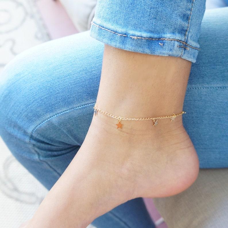 Dainty Gold Tiny Stars Anklet Minimalist Chain Anklet Bracelet image 0