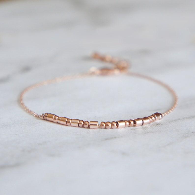Delicate Morse Code Beaded Bracelet Secret Word Gift for Her image 0