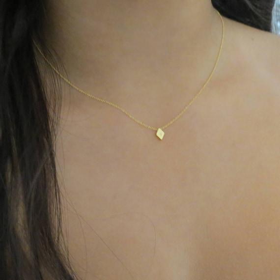 Minimal DIAMOND Initial Necklace Ultra Dainty Initial Necklace Silver Necklace Tiny Necklace Personalized Gift Best Friend Necklace