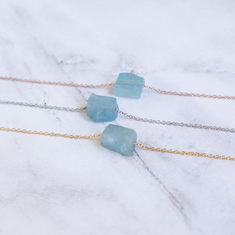 Raw Crystal Necklace Aquamarine Necklace March Birthstone Rough Stone Layering Necklace Natural Aquamarine Stone Pendant Healing Necklace