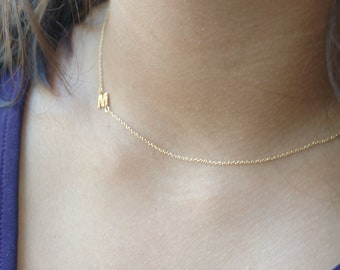 Tiny Initial Necklace Asymmetrical Letter Necklace Gold Initial Jewelry Personalized Necklace for Women Name Necklace Dainty Letter Necklace