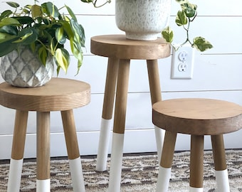 """Solid Wood Accent Stool With 1  1/4"""" Diameter Legs 
