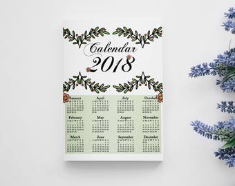 WALL CALENDAR 2018, calendar 2018, 2018 calendar, 2018 stationery, wall decor, illustrated calendar, christmas gift, watercolor calendar,