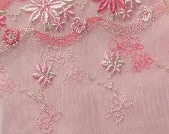 Coral Pink Embroidered Floral Lace Bra Kit (Standard)