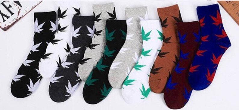 Groomsmen Trendy Casual 1 pair High Ankle Length Cotton Unisex Funny Colourful Cool One-Size Marijuana Rasta Leaf Times Socks