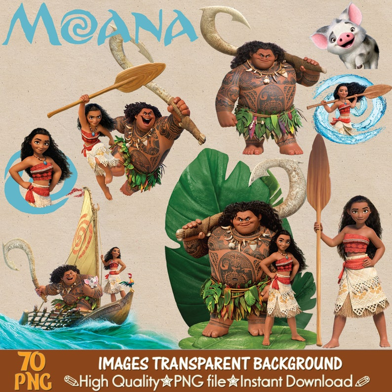 MOANA clipart png, digital clipart, moana images, digital print, png file,  transparent backgrounds, cartoon clipart, printable images