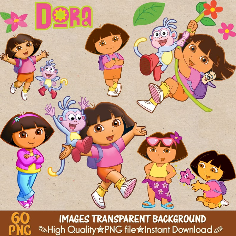 Dora Explorer Und Freunde Clipart Png Dora Digitale Clipart Etsy