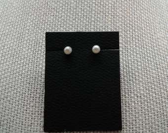 4 MM Button Pearl Sterling Silver Post Earrings. Stock #E-16