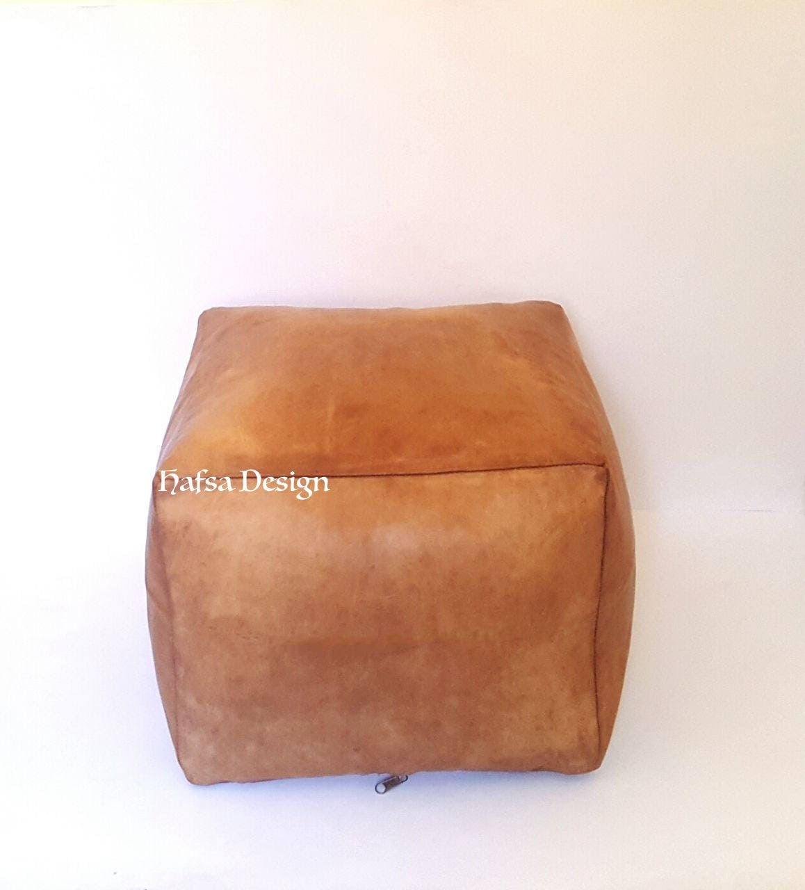 Set Of 2 20x16 Moroccan Square Leather Ottoamn Pouf Etsy