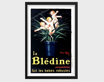 POSTER BLEDINE FOOD FOR GENERATIONS OF ATHLETES CHILDREN VINTAGE REPRO FREE SH