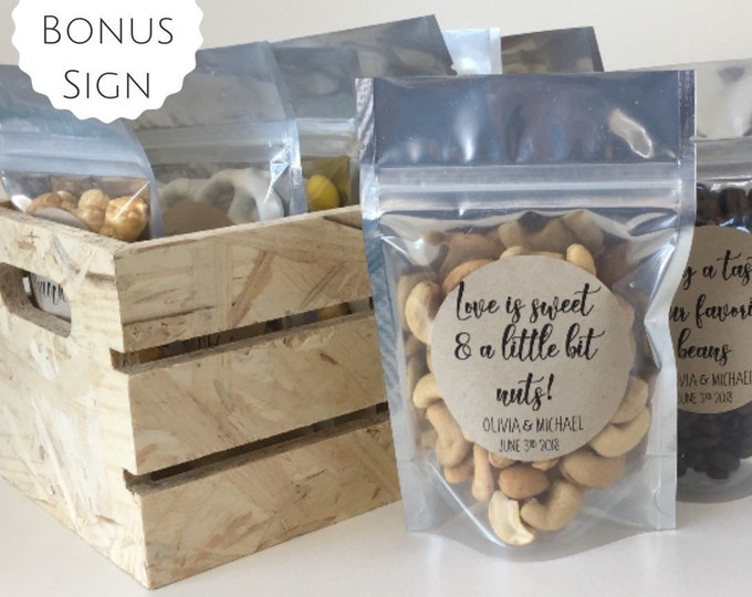 "Featured listing image: Love is sweet & a little bit nuts! - (Set of 10) - Wedding Favor Treat Bags - Food Safe - 4 x 6"" - Free Shipping!"