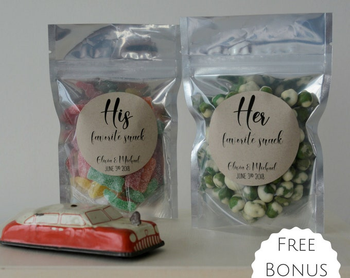 """Featured listing image: His Favorite Snack & Her Favorite Snack! - (Set of 10) - Wedding Favor Treat Bags - Food Safe - 4 x 6"""" - Free Shipping!"""