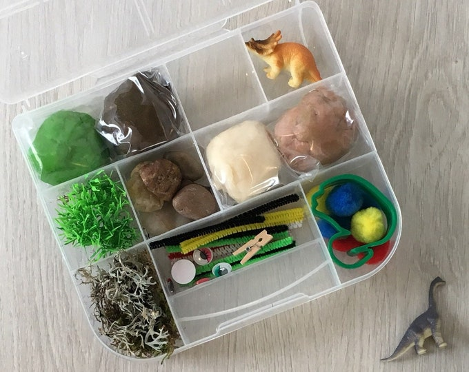 Featured listing image: Dinosaur Theme Kids Sensory Play activity kit - includes (4) colors of handmade Play Dough and accessories - inspire creativity!