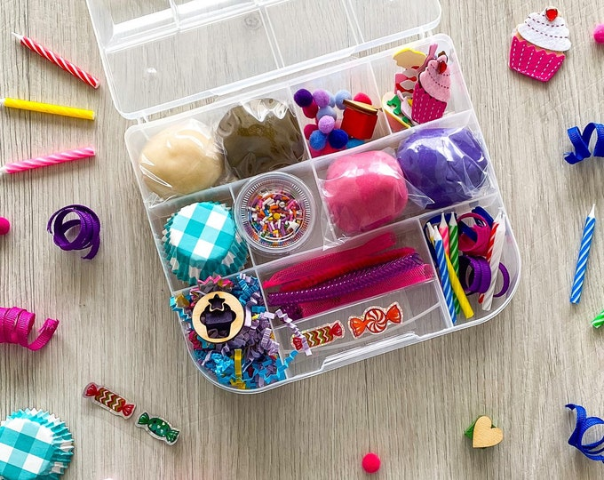 Featured listing image: Bake Shop Theme Kids Sensory Play activity kit - includes (4) colors of handmade Play Dough and accessories - inspire kids creativity!