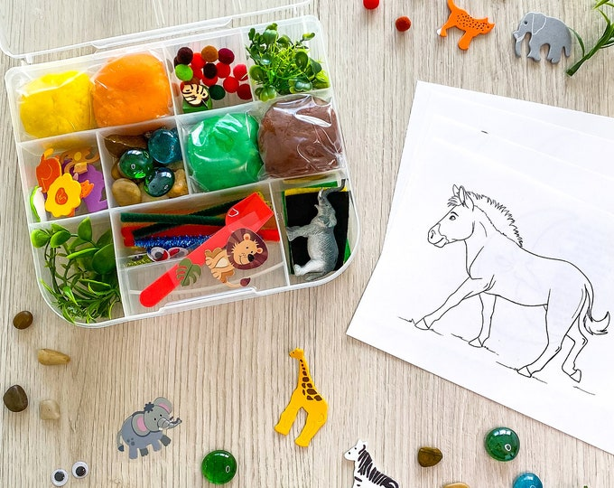 Featured listing image: Safari Theme Kids Sensory Play activity kit - includes (4) colors of handmade Play Dough and accessories - inspire kids creativity!