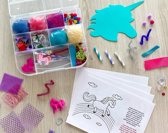 Featured listing image: Unicorn Theme Kids Sensory Play activity kit - includes (4) colors of handmade Play Dough and accessories - inspire kids creativity!