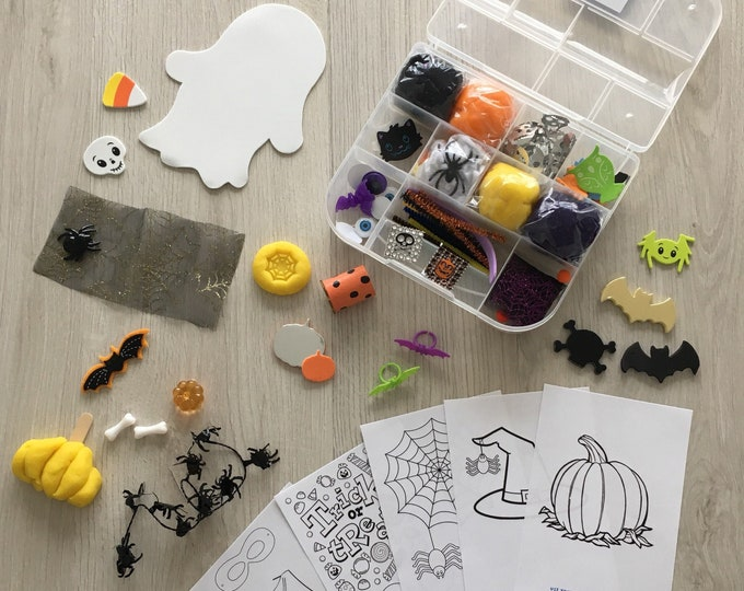Featured listing image: Halloween Kids Sensory Play activity kit - includes (4) colors of handmade Play Dough and accessories - inspire creativity!