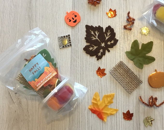 Featured listing image: Happy Fall Play Dough activity kit - includes handmade play dough and sensory play items - perfect as Thanksgiving loot bags!