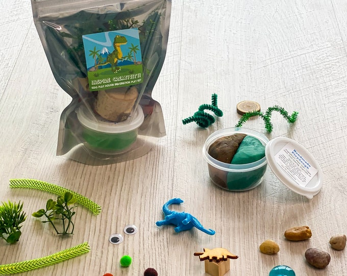 Featured listing image: Dinosaur Play Dough activity kit - includes handmade play dough and sensory play items to use with the play dough - perfect as loot bags!
