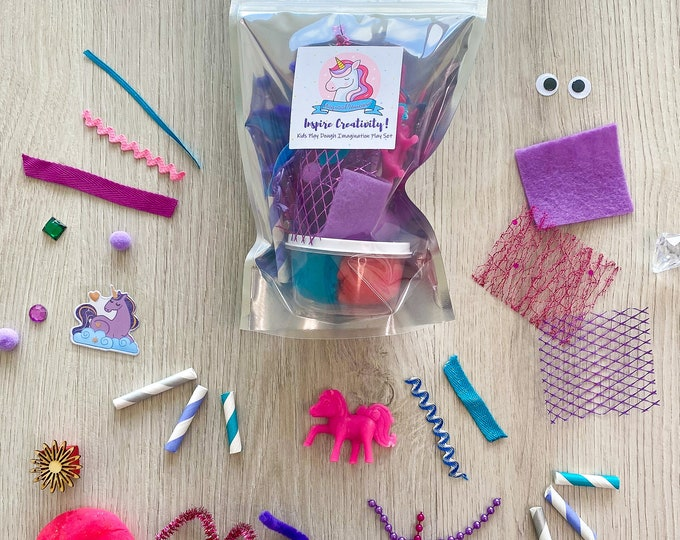Featured listing image: Unicorn Play Dough activity kit - includes handmade play dough and sensory play items to use with the play dough - perfect as loot bags!