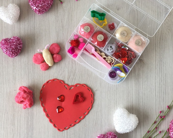 Featured listing image: Valentines Kids Sensory Play activity kit - includes (4) colors of handmade Play Dough and accessories - inspire creativity!