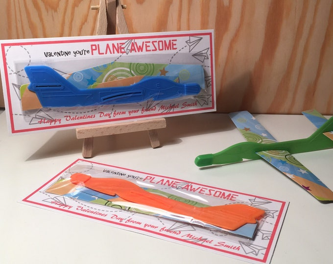 Featured listing image: Valentine You're Plane Awesome! - Toy Airplane - Handmade Kids Valentines Cards - Candy free, allergy safe - Customizable!