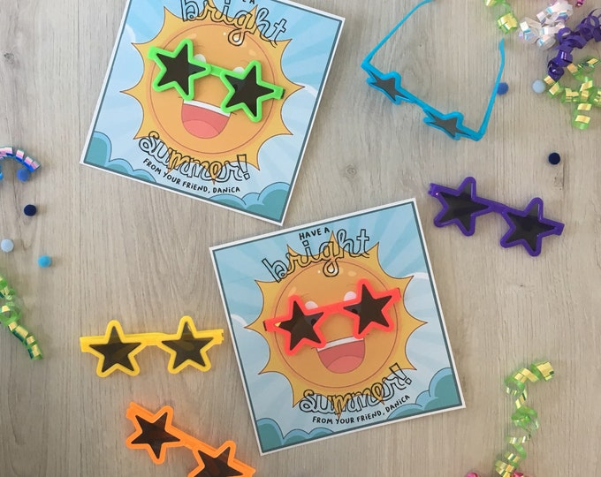 Featured listing image: Have a Bright Summer! - Handmade Kids classroom cards with sunglasses - Customizable with childs name!
