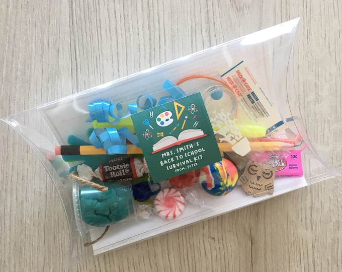 Featured listing image: Back to School Teacher Survival Kit - comes assembled and customized with your childs name and teachers name!