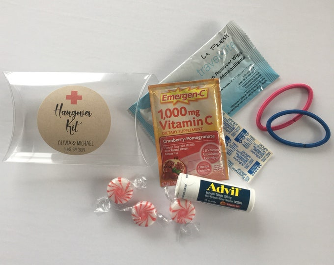 Featured listing image: Hangover Kit! - (Set of 10) - Wedding Favor Clear Pillow Boxes - Food Safe - Free Shipping! (does not include contents)