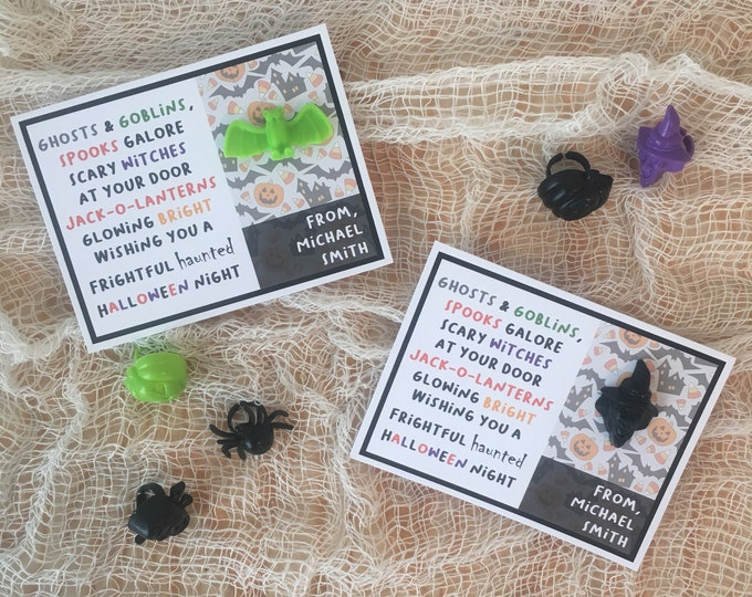 Featured listing image: Halloween Poem - Handmade Kids Halloween Classroom Cards / Party Favours with toy ring - Customizable with childs name!