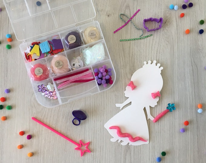 Featured listing image: Princess Kids Sensory Play activity kit - includes (4) colors of handmade Play Dough and accessories - inspire creativity!