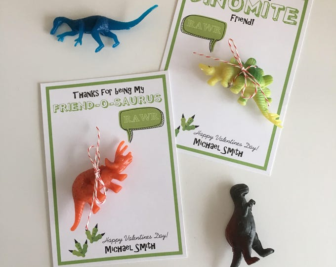 Featured listing image: I Think You're Dino-Mite! - Dinosaur Toy - Handmade Kids Valentines Cards - Candy free, allergy safe - Customized!