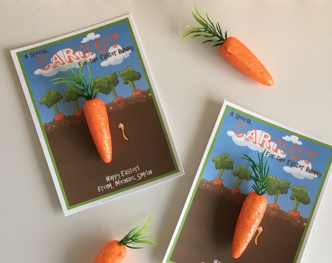 Featured listing image: A Special Carrot for the Easter Bunny - Handmade Kids Easter Cards - Candy free, allergy safe - Customizable with childs name
