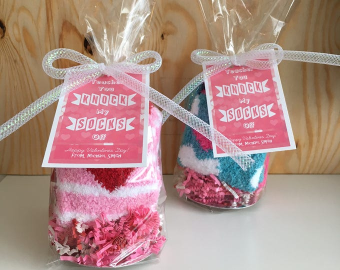 Featured listing image: Teacher, You Knock My Socks Off - Handmade Teacher Valentines - Candy free, allergy safe - Customizable!