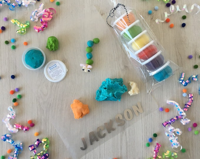 Featured listing image: Rainbow Play Dough activity kit with customized play mat, includes (6) containers of homemade playdough and personalized play mat!