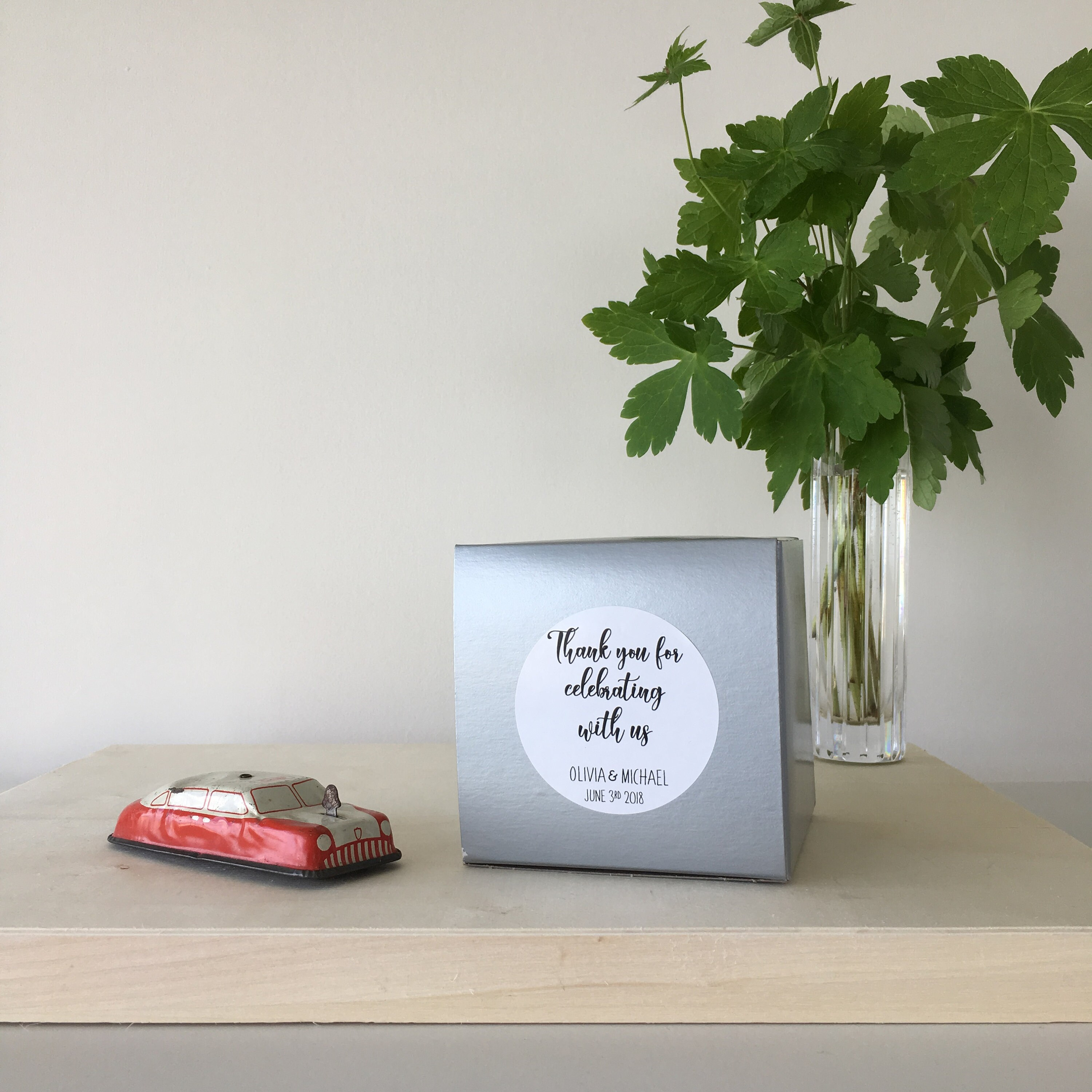 Thank you for celebrating with us! - Square Wedding Favor Treat Box ...