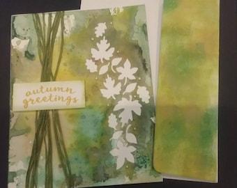 Autumn Greetings Handmade card. Blank inside