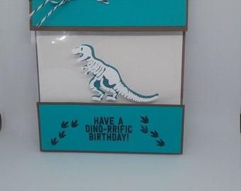Blue Bone Panel Dino Birthday Card