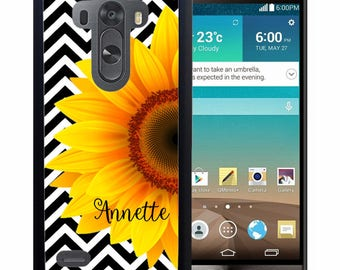 Personalized Rubber Case For LG  3, 4, 5, 6 - Chevron Sunflower