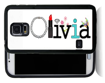 Personalize Rubber Case For Samsung Note 3, Note 4, Note 5, or Note 8-  Your Girly Name