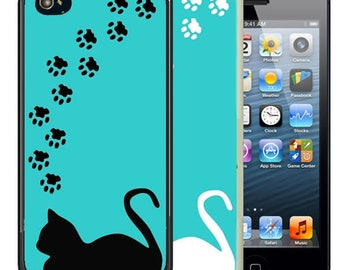 Rubber Case For iPhone X, 8, 8 plus, 7, 7 plus, 6s, 6s plus, 5, 5s, 5c, SE - Cat Paws Silhouette