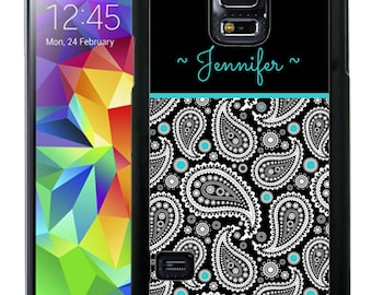 Personalize Rubber Case For Samsung Note 3, Note 4, Note 5, or Note 8- Paisley Teal Black Top
