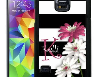 Personalize Rubber Case For Samsung Note 3, Note 4, Note 5, or Note 8- Black and White Stripes Flowers